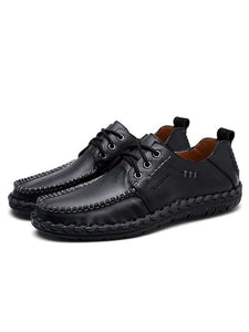 Men Lace-up Leather Loafers Flat Shoes