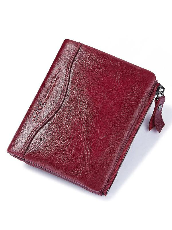 Leather Zipper Multi-layer Pocket Wallet