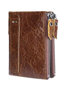 Solid zipper Leather Long Wallet