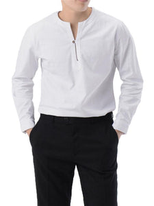 Men Solid V Neck Blouse Shirt