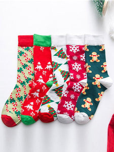 5Pairs Casual Art Breathable Cotton Socks(For US Size7-10)