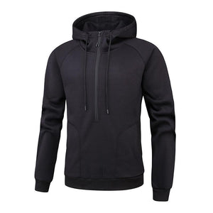 Men Pure Color Zipper Hoodie Sweatshirt