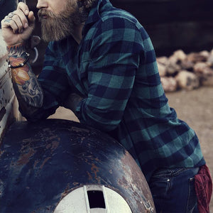 Men Plaid Print Long Sleeves Shirt