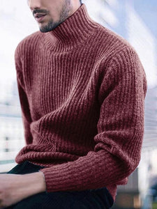 Men Keep Warm High-neck Solid Sweater Top