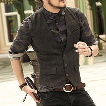 Load image into Gallery viewer, Men Traditional Solid Herringbone Waistcoat