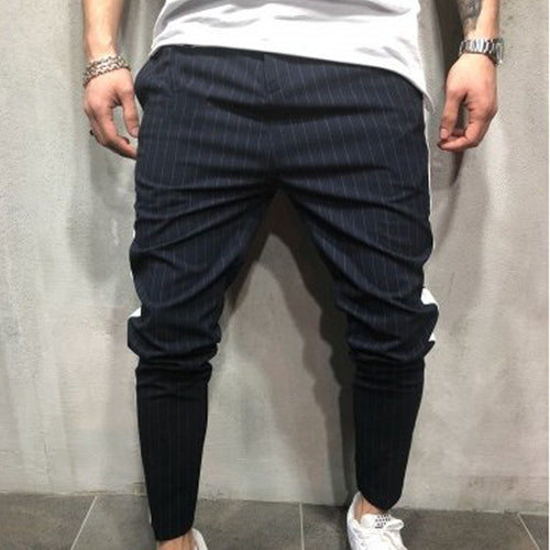 Men Striped Tapered Trousers