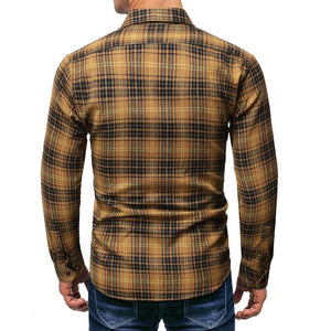 Men Lapel Plaid Blouse Shirt