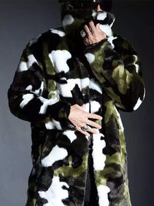 Men Faux Fur Camouflage Overcoat