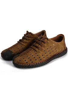 Men Breathable Lace-up Flat Loafer Shoes