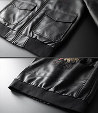 Load image into Gallery viewer, Men Lapel Patch PU Jacket Coat
