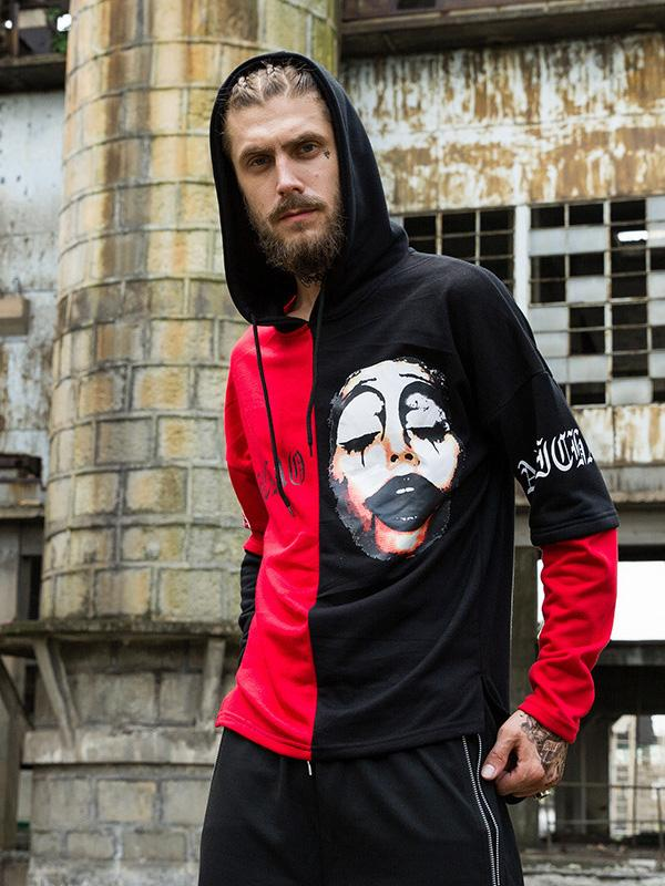Men Printing Color Block Hoodie Sweatshirt