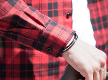 Load image into Gallery viewer, Men Lapel Long Sleeves Plaid Shirt
