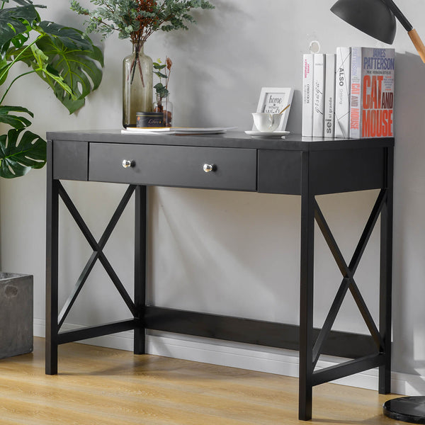 Console Table with Large Drawer Black