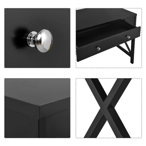 Console Table with Large Drawer Black Details