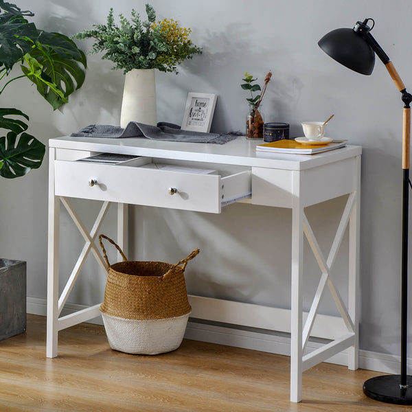 Console Table with Large Drawer White
