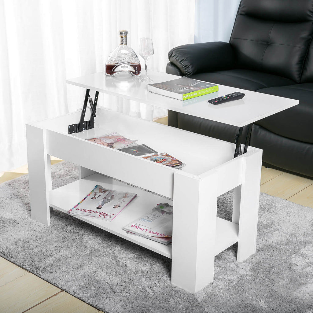 Lift up Top Coffee Table White 100x48x60CM