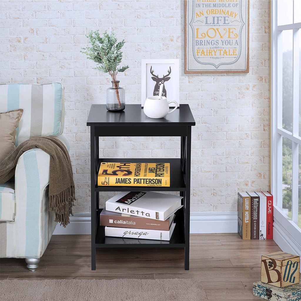 Side Table with 3 Tiers Black