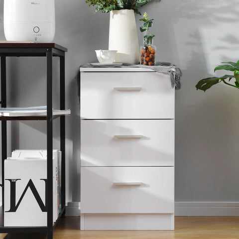 White File Cabinet with 3 Drawers 66x35x38CM