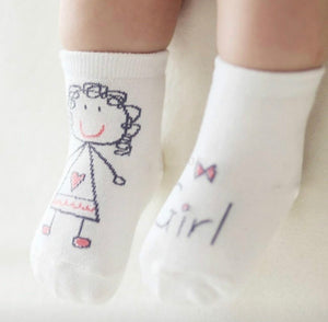Baby girl/boy kid-sketch socks