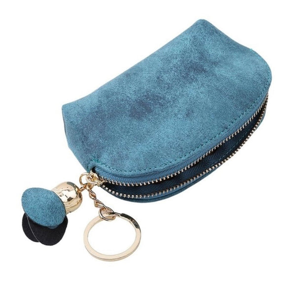 Handy little suede effect purse with key ring