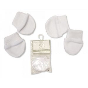 Premature 2 Pack Baby Mittens – White