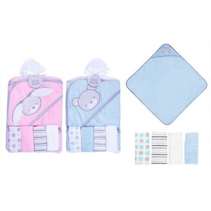 Baby soft hooded towel & wash cloth bath set set