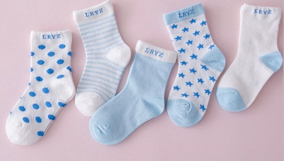 5 pairs of cotton baby socks