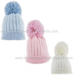 Baby ribbed hat with large pom-pom (0-3 Months)