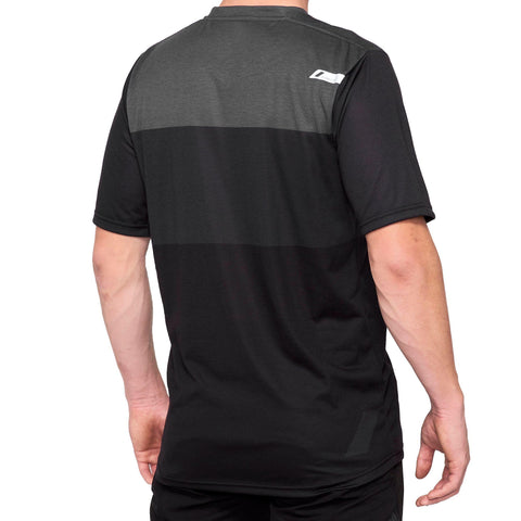 100Percent Airmatic Short Sleeved Riding Jersey Black Charcol at Tweed Valley Bikes