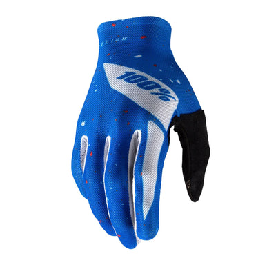 100Percent Celium Glove Blue and White at Tweed Valley Bikes