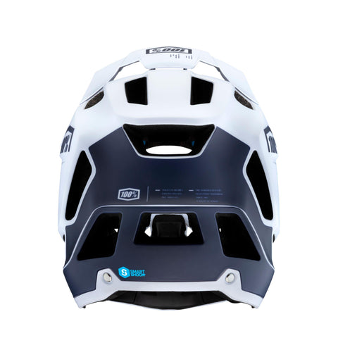 100% Trajecta Enduro Helmet White and Blue Colour at Tweed Valley Bikes