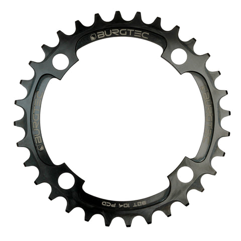 Burgtec 104 BCD Thick Thin Chainring in black at Tweed Valley Bikes