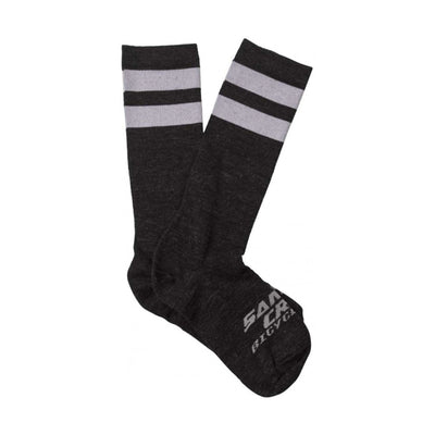 Santa Cruz Bicycle Ringer Cyclung MTB Socks Wool and Recycled Polyester in Black and White