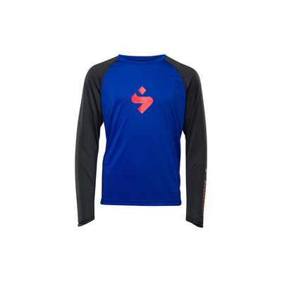 Sweet Proection Hunter Long Sleeve Kids MTB Jersey in Race Blue, perfect for Dirt School Kids Academy at Tweed Valley Bikes