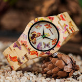 Colourful Wooden Watch with Butterfly Print