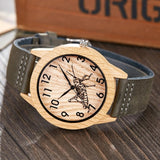 Quartz Wooden Watch with Leather Strap