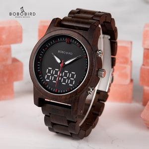 Digital Wood Quartz Wristwatch