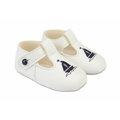 Baypods B119 in white/navy - Early Days Baby and Toddler Shoes for Boys and Girls