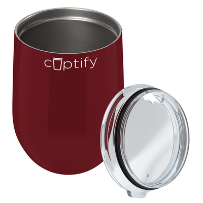 Cuptify 12 oz Stemless Wine Tumbler - Maroon Gloss