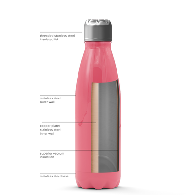 Cuptify 17 oz Cola Stainless Steel Water Bottle - Guava Gloss