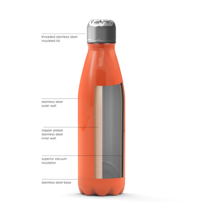 Cuptify 17 oz Cola Stainless Steel Water Bottle - Orange Gloss