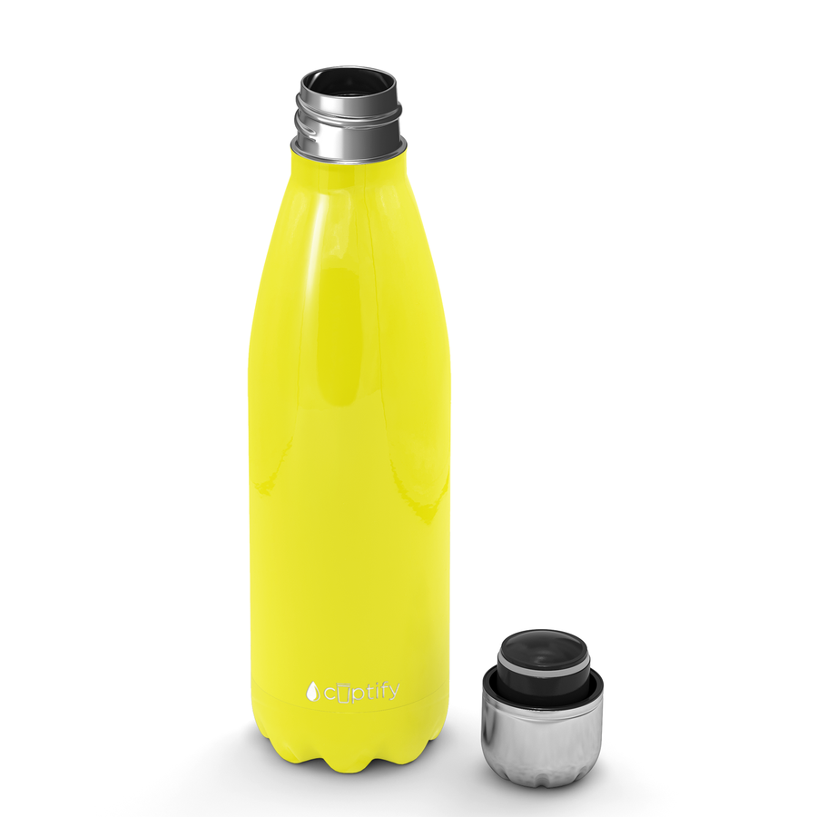 Cuptify 17 oz Cola Stainless Steel Water Bottle - Yellow Gloss