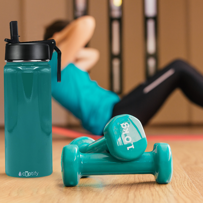 Cuptify 18 oz Stainless Steel Bottle - Aqua Blue