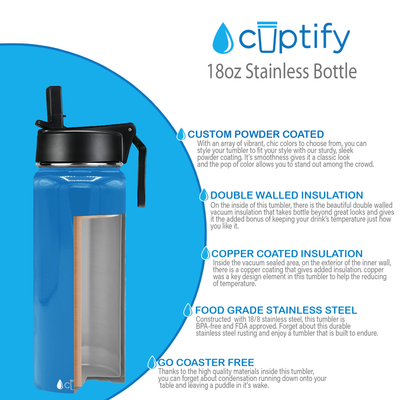 Cuptify 18 oz Stainless Steel Bottle - Baby Blue