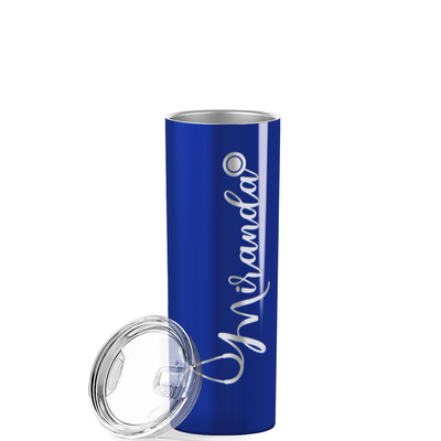 Personalized Nurse Laser Engraved 20 oz Skinny Tumbler - Blue Gloss