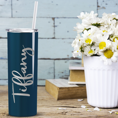 Cuptify Personalized Engraved 20 oz Skinny Tumbler - Blue Sea Gloss