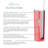 Personalized Nurse Laser Engraved 20 oz Skinny Tumbler - Guava Gloss