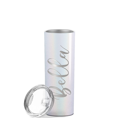 Cuptify Personalized Engraved 20 oz Skinny Tumbler - White Glitter