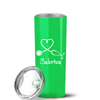 Swing Heart Nursing Personalized Stethoscope 20 oz Skinny Tumbler - Neon Green