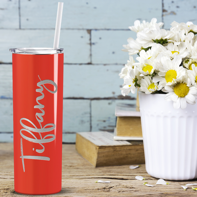 Cuptify Personalized Engraved 20 oz Skinny Tumbler - Orange Gloss